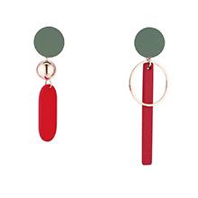 韩版镀真金创意百搭不对称S925银针耳环(红色)