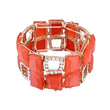 欧美几何方块手镯(橘红)