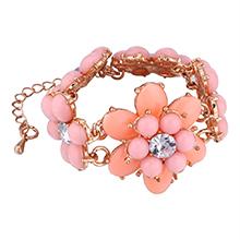欧美时尚花朵手链(粉色)