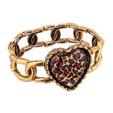欧美时尚风格心形手链(红色花纹)