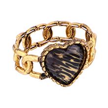 欧美时尚风格心形手链(黑色斑马纹)