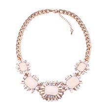 欧美时尚质感镶钻项链(米色)