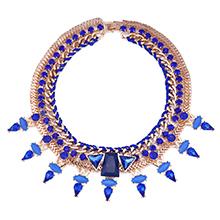 欧美时尚潮流复古镶钻多层水滴项链(蓝色)