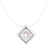 韩版时尚锆石方块项链(银色)