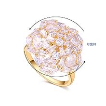 镀真金锆石五角花朵可旋转开口戒指(14K金)