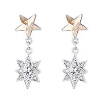 奥地利水晶耳环--五角星星(金色魅影)