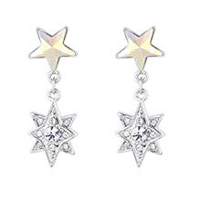 奥地利水晶耳环--五角星星(彩白)