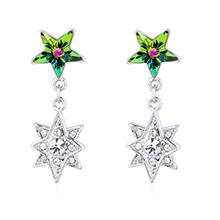 奥地利水晶耳环--五角星星(七彩)