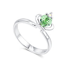 奥地利水晶戒指--皇冠(橄榄)