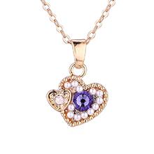 水晶项链--心花怒放(香槟金+紫罗兰)