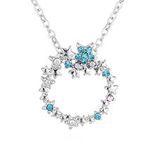镀真金蓝色大海的传说圆圈满钻项链(彩白+蓝锆石)