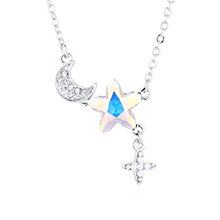 水晶项链—浪漫星月(彩白)