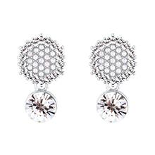 镀真金S925银针耳钉--六边形满钻珍珠(白金+白色)
