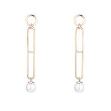 镀真金回形珍珠S925银针耳钉(14K金)