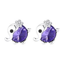 奥地利水晶耳环--小花象(藕荷紫)