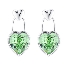 奥地利水晶耳环--心心挂念(橄榄)