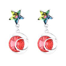 奥地利水晶耳环--星月传奇(水莲红)