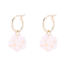 镀真金天然珍珠镂空耳环