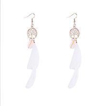 韩版气质流苏智慧树耳环(白色)