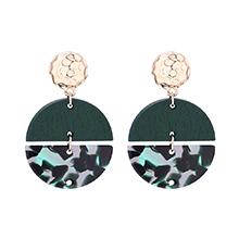 韩版气质半月亮木质耳环(墨绿)