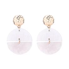 韩版气质半月亮木质耳环(白色)