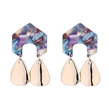 韩版时尚几何形金属吊坠耳环(彩色)