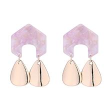 韩版时尚几何形金属吊坠耳环(粉色)
