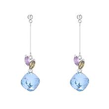 奥地利水晶耳环--两叶水晶(海蓝)