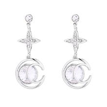 奥地利水晶耳环--月芒星(白色)