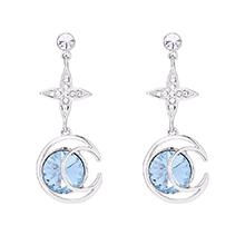 奥地利水晶耳环--月芒星(海蓝)