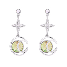 奥地利水晶耳环--月芒星(夜光绿)