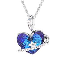 奥地利水晶项链--心星(蓝光)