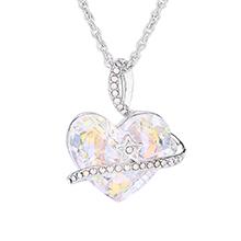 奥地利水晶项链--心星(彩白)