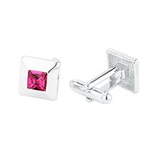 奥地利水晶袖扣--方块(紫红)