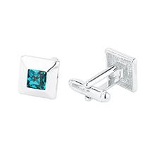 奥地利水晶袖扣--方块(彩蓝)