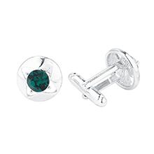 进口水晶袖扣--两生花(绿色)