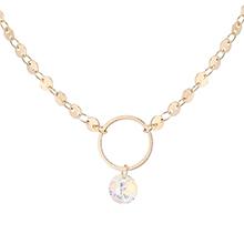 奥地利水晶项链--圆环(14K金+彩白)