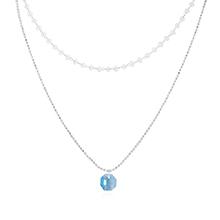 奥地利水晶项链--小灯笼(白金+海蓝)