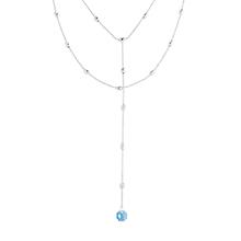奥地利水晶项链--水中月(白金+海蓝)