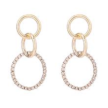 镀真金圆环水晶耳环(14K金)