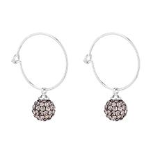 进口水晶耳环--缤纷彩球(白金+黑钻石)