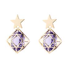 奥地利水晶耳环--星锁(藕荷紫)