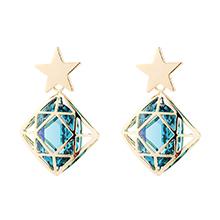 奥地利水晶耳环--星锁(彩蓝)
