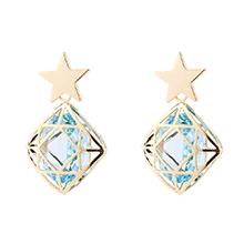 奥地利水晶耳环--星锁(海蓝)