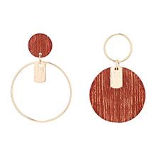 镀真金时尚个性大小圆圈耳环(14K金)