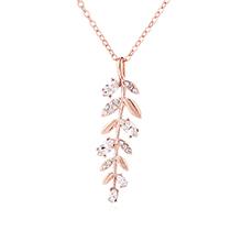 奥地利水晶项链--香草树叶(玫瑰金)