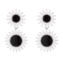 AAA级锆石S925银针--向日葵(白金)