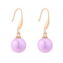 韩版时尚小圆球珍珠耳环(紫色)