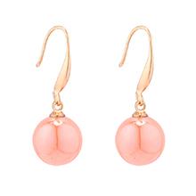 韩版时尚小圆球珍珠耳环(橙黄)