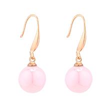 韩版时尚小圆球珍珠耳环(粉色)